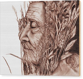 Wood Print featuring the drawing Harvest by Penny Collins
