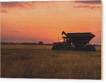 Wood Print featuring the photograph Harvest Sunset by Jay Stockhaus