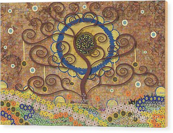 Wood Print featuring the tapestry - textile Harvest Swirl Tree by Kim Prowse