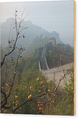 Harvest Time At The Great Wall Of China Wood Print by Lucinda Walter
