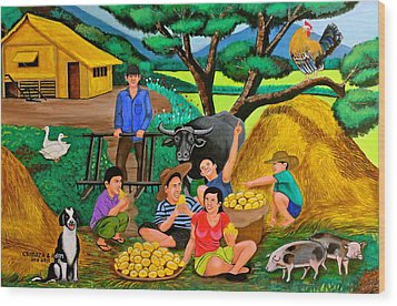 Wood Print featuring the painting Harvest Time by Cyril Maza