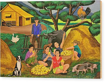 Wood Print featuring the painting Harvest Time by Lorna Maza