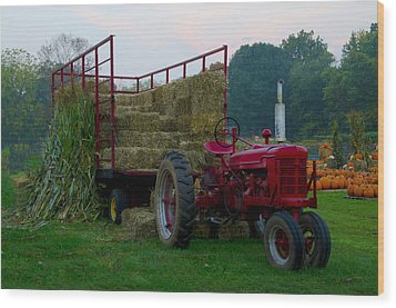 Harvest Time Tractor Wood Print by Bill Cannon
