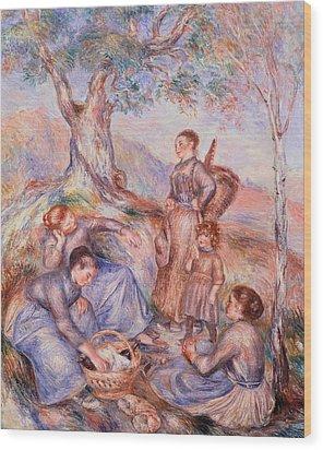 Harvesters Breakfast Wood Print by Pierre-Auguste Renoir