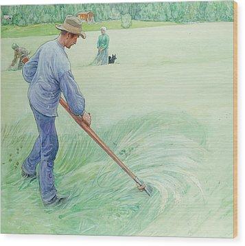 Harvesters Wood Print by Carl Larsson