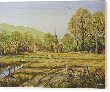 Harvesting Fields Wood Print by Andrew Read