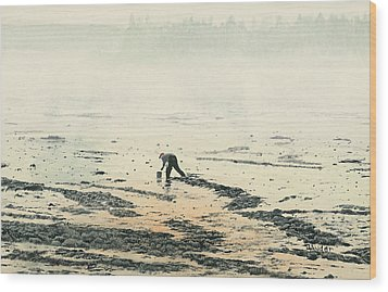 Harvesting The Flats Wood Print