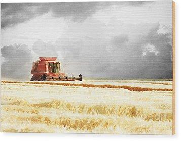 Harvesting The Grain Wood Print