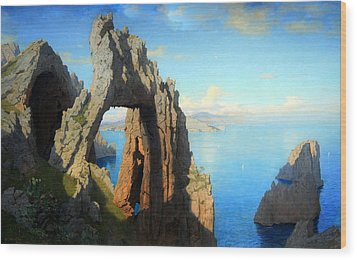 Haseltine's Natural Arch At Capri Wood Print by Cora Wandel