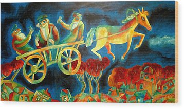 Hasidishe Journey To Rebbe  Wood Print by  Leon Zernitsky