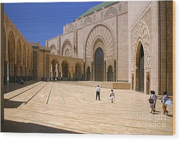 Wood Print featuring the photograph Hassan II Mosque Grand Mosque Sour Jdid Casablanca Morocco by Ralph A  Ledergerber-Photography