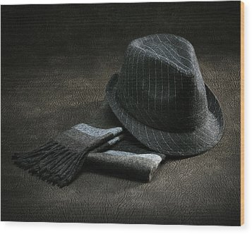 Hat And Scarf Wood Print by Krasimir Tolev
