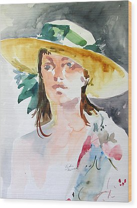 Hat With Green Ribbon Wood Print