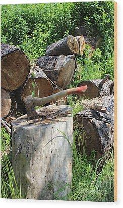 Hatchet In Block Wood Print