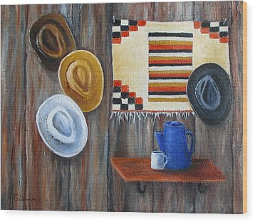 Hats Wood Print by Roseann Gilmore