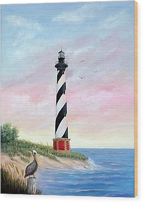 Wood Print featuring the painting Hatteras Sunrise by Fran Brooks