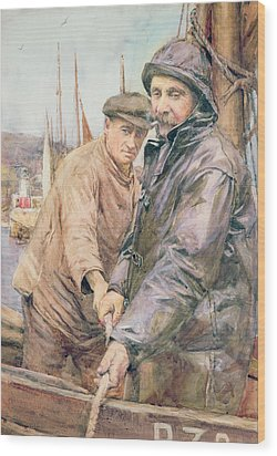 Hauling In The Net Wood Print by Henry Meynell Rheam