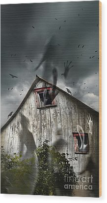 Haunted Barn With Ghosts Flying And Dark Skies Wood Print by Sandra Cunningham