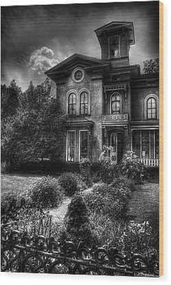 Haunted - Haunted House Wood Print by Mike Savad