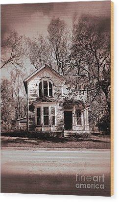 Haunted House Wood Print by Birgit Tyrrell