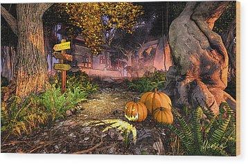 Haunted House Wood Print by Marina Likholat