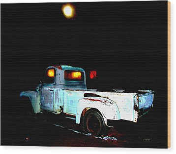 Wood Print featuring the digital art Haunted Truck by Cathy Anderson