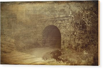 Haunted Tunnel Wood Print by Kathy Jennings