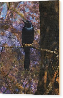 Wood Print featuring the digital art Haunting Grackle by J Larry Walker