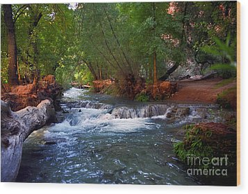 Havasu Creek Wood Print by Kathy McClure