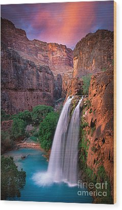 Havasu Falls Wood Print by Inge Johnsson