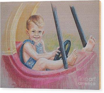 Having Fun Wood Print by Joy Nichols