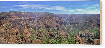 Hawaii Kauai Waimea Canyon Beautiful Panorama Wood Print by David Zanzinger