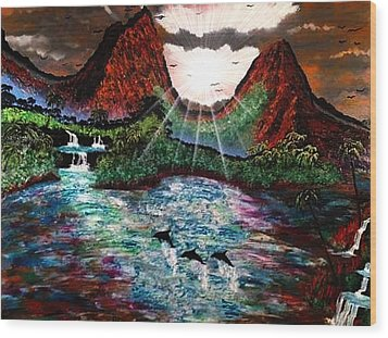 Wood Print featuring the painting Hawaii  by Michael Rucker