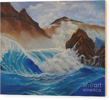 Wood Print featuring the painting Hawaii On The Rocks by Jenny Lee