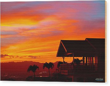 Wood Print featuring the photograph Hawaii Sunset Behind The Waianae Mountain Range by Aloha Art