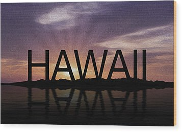 Hawaii Tropical Sunset Wood Print by Aged Pixel