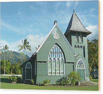Hawaiian Church Wood Print by Dee  Savage