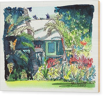 Wood Print featuring the painting Hawaiian Cottage 3 by Marionette Taboniar