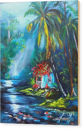 Wood Print featuring the painting Hawaiian Hut In The Mist by Jenny Lee