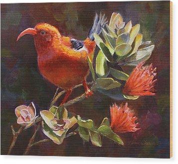 Hawaiian IIwi Bird And Ohia Lehua Flower Wood Print by Karen Whitworth