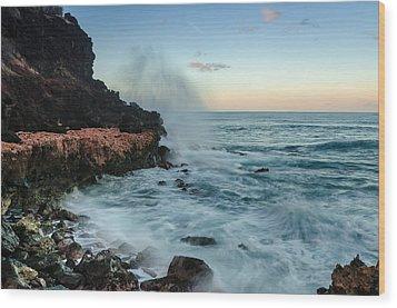 Wood Print featuring the photograph Hawaiian Lava Rocks And Crashing Waves by RC Pics