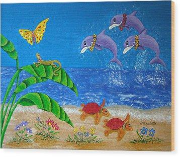 Hawaiian Lei Day Wood Print by Pamela Allegretto