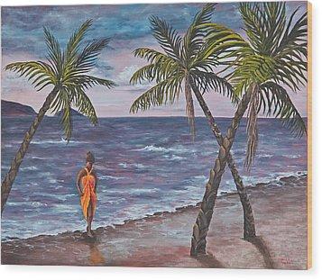 Hawaiian Maiden Wood Print by Darice Machel McGuire