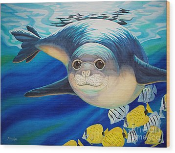 Hawaiian Monk Seal For Noaa Monk Seal Recovery Program Wood Print by Tammy Yee