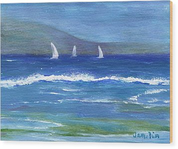 Hawaiian Sail Wood Print by Jamie Frier