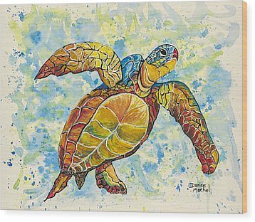 Wood Print featuring the painting Hawaiian Sea Turtle 2 by Darice Machel McGuire