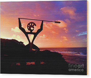 Hawaiian Silhouette Wood Print