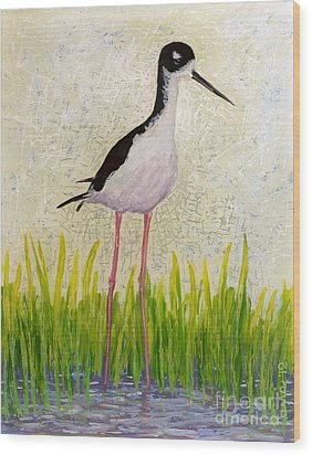 Hawaiian Stilt Wood Print by Anna Skaradzinska