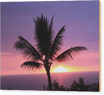 Wood Print featuring the photograph Hawaiian Sunset And Palm by Karen Nicholson
