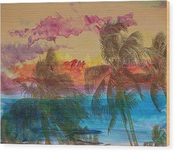 Hawaiian Sunset Wood Print by Athala Carole Bruckner